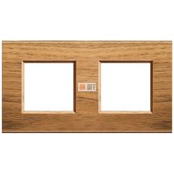 Рамка 2-ая (двойная) прямоугольная, цвет Дерево Орех (европейский), LivingLight, Bticino
