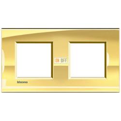 Рамка 2-ая (двойная) прямоугольная, цвет Золото, LivingLight, Bticino