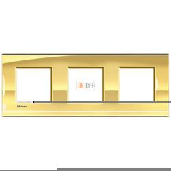 Рамка 3-ая (тройная) прямоугольная, цвет Золото, LivingLight, Bticino