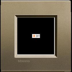 Рамка 1-ая (одинарная) прямоугольная, цвет Коричневый шелк, LivingLight, Bticino
