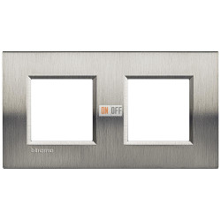 Рамка 2-ая (двойная) прямоугольная, цвет Сталь Фактурная, LivingLight, Bticino