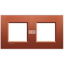 Рамка 2-ая (двойная) прямоугольная, цвет Красный шелк, LivingLight, Bticino