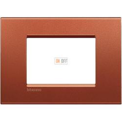 Рамка итальянский стандарт 3 мод прямоугольная, цвет Красный шелк, LivingLight, Bticino