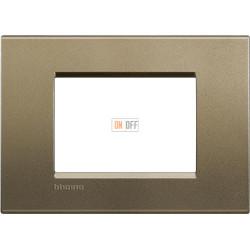 Рамка итальянский стандарт 3 мод прямоугольная, цвет Коричневый шелк, LivingLight, Bticino