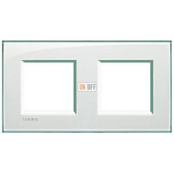 Рамка 2-ая (двойная) прямоугольная, цвет Морская вода, LivingLight, Bticino