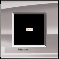 Рамка 1-ая (одинарная) прямоугольная, цвет Никель, LivingLight, Bticino