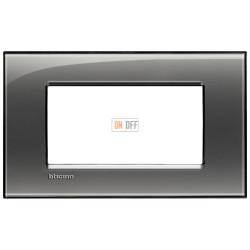 Рамка итальянский стандарт 4 мод прямоугольная, цвет Лондонский туман, LivingLight, Bticino