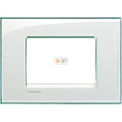 Рамка итальянский стандарт 3 мод прямоугольная, цвет Морская вода, LivingLight, Bticino