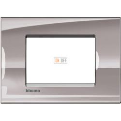 Рамка итальянский стандарт 3 мод прямоугольная, цвет Никель, LivingLight, Bticino
