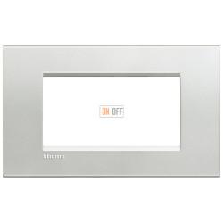 Рамка итальянский стандарт 4 мод прямоугольная, цвет Серебро, LivingLight, Bticino