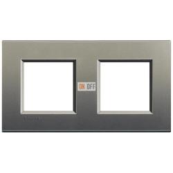 Рамка 2-ая (двойная) прямоугольная, цвет Серый шелк, LivingLight, Bticino