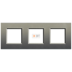 Рамка 3-ая (тройная) прямоугольная, цвет Серый шелк, LivingLight, Bticino