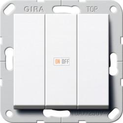 Выключатель 3-клавишный; кнопочный, цвет Белый, Gira
