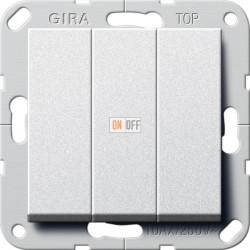 Выключатель 3-клавишный, цвет Алюминий, Gira