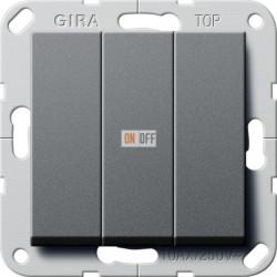 Выключатель 3-клавишный; кнопочный, цвет Антрацит, Gira