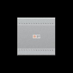 Выключатель 1-клавишный; кнопочный (винтовые клеммы), цвет Алюминий, LivingLight, Bticino