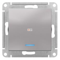 Выключатель 1-клавишный , с подсветкой, Алюминий, серия Atlas Design, Schneider Electric