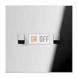 Выключатель 2-кл кноп. НО (тумблер-куб), цвет Хром, LS1912