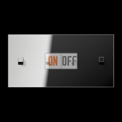 Выключатель 2-кл + Выключатель 2-кл кноп. НО (тумблер-куб) гориз, цвет Хром, LS1912