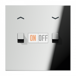 Выключатель для жалюзи (рольставней) с фиксацией (тумблер-куб), цвет Хром, LS1912