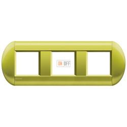 Рамка 3-ая (тройная) овальная, цвет Лимон, LivingLight, Bticino