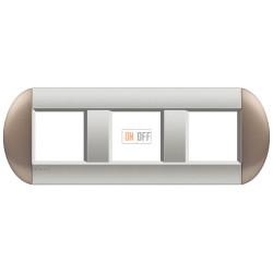 Рамка 3-ая (тройная) овальная, цвет Бронзовый, LivingLight, Bticino
