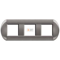 Рамка 3-ая (тройная) овальная, цвет Серый, LivingLight, Bticino