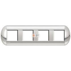 Рамка 4-ая (четверная) овальная, цвет Хром, LivingLight, Bticino