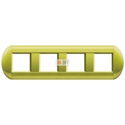 Рамка 4-ая (четверная) овальная, цвет Лимон, LivingLight, Bticino