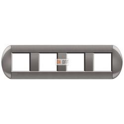 Рамка 4-ая (четверная) овальная, цвет Серый, LivingLight, Bticino