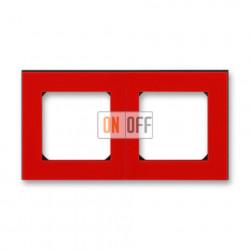 Рамка 2-ая (двойная), цвет Красный/Дымчатый черный, Levit, ABB