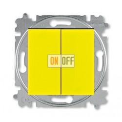 Выключатель 2-клавишный проходной (с двух мест), цвет Желтый/Дымчатый черный, Levit, ABB