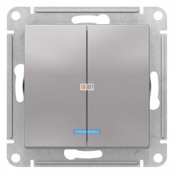Выключатель 2-клавишный , с подсветкой, Алюминий, серия Atlas Design, Schneider Electric