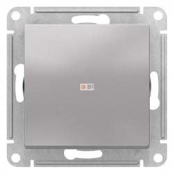 Выключатель 1-клавишный ,проходной (с двух мест), Алюминий, серия Atlas Design, Schneider Electric