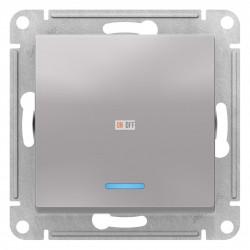 Выключатель 1-клавишный ,проходной с индикацией (с двух мест), Алюминий, серия Atlas Design, Schneider Electric