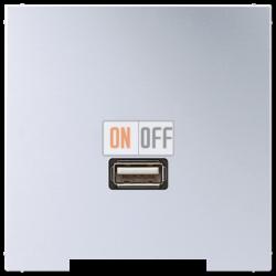 Розетка USB 1-ая (разъем), цвет Алюминий, LS990, Jung
