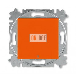 Выключатель 1-клавишный ,проходной с подсветкой (с двух мест), цвет Оранжевый/Дымчатый черный, Levit, ABB