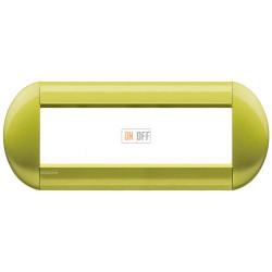 Рамка итальянский стандарт 7 мод овальная, цвет Лимон, LivingLight, Bticino