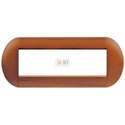 Рамка итальянский стандарт 7 мод овальная, цвет Дерево Вишня (американская), LivingLight, Bticino