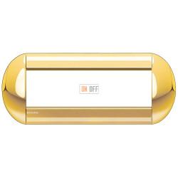 Рамка итальянский стандарт 7 мод овальная, цвет Золото, LivingLight, Bticino