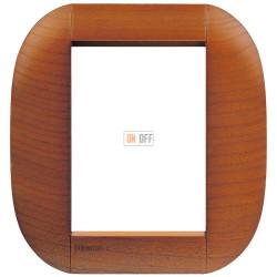 Рамка итальянский стандарт 3+3 мод овальная, цвет Дерево Вишня (американская), LivingLight, Bticino
