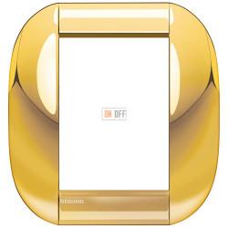 Рамка итальянский стандарт 3+3 мод овальная, цвет Золото, LivingLight, Bticino