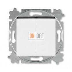 Выключатель 2-клавишный проходной (с двух мест), цвет Белый/Дымчатый черный, Levit, ABB