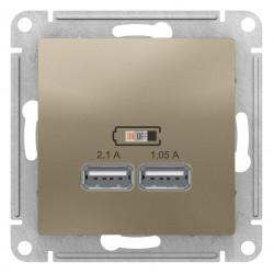Розетка USB 2-ая 2100 мА (для подзарядки), Шампань, серия Atlas Design, Schneider Electric