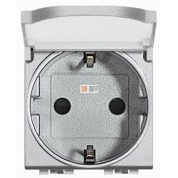 Розетка 1-ая электрическая , с заземлением и крышкой , цвет Алюминий, LivingLight, Bticino
