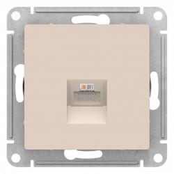 Розетка компьютерная 1-ая кат.5е, RJ-45 (интернет), Бежевый, серия Atlas Design, Schneider Electric