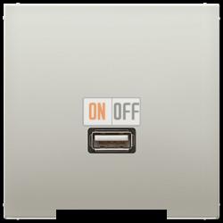 Розетка USB 1-ая (разъем), цвет Edelstahl (сталь), LS990, Jung
