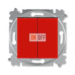 Выключатель 2-клавишный проходной (с двух мест), цвет Красный/Дымчатый черный, Levit, ABB