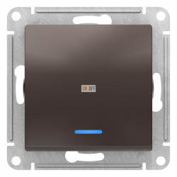 Выключатель 1-клавишный ,проходной с индикацией (с двух мест), Мокко, серия Atlas Design, Schneider Electric