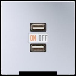 Розетка USB 2-ая (разъем), цвет Алюминий, LS990, Jung